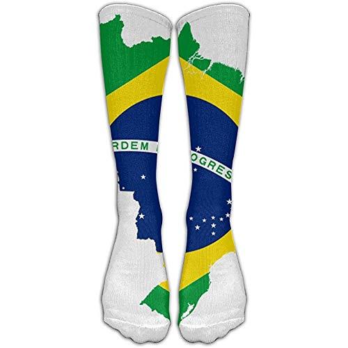 WlyFK SokkenBrazil Flag Map Unisex lange sokken Crew Athletic kniekousen