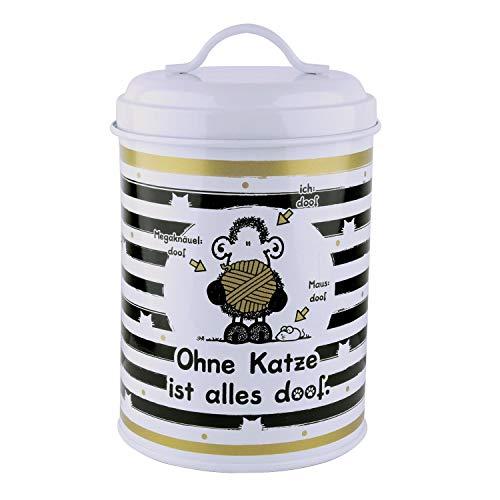 Sheepworld 45998 Dose Ohne Katze ist alles doof, Leckerli-Dose, 130 cl, Metall