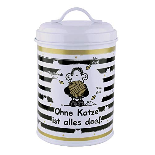Sheepworld 45998 Dose Ohne Katze ist alles doof, Leckerli-Dose, 130 cl, Metall