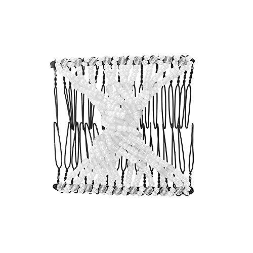 conqueror⭐⭐⭐⭐⭐ Perles élastiques femmes peignes à cheveux double glissière magique clip en métal peigne épingles à cheveux