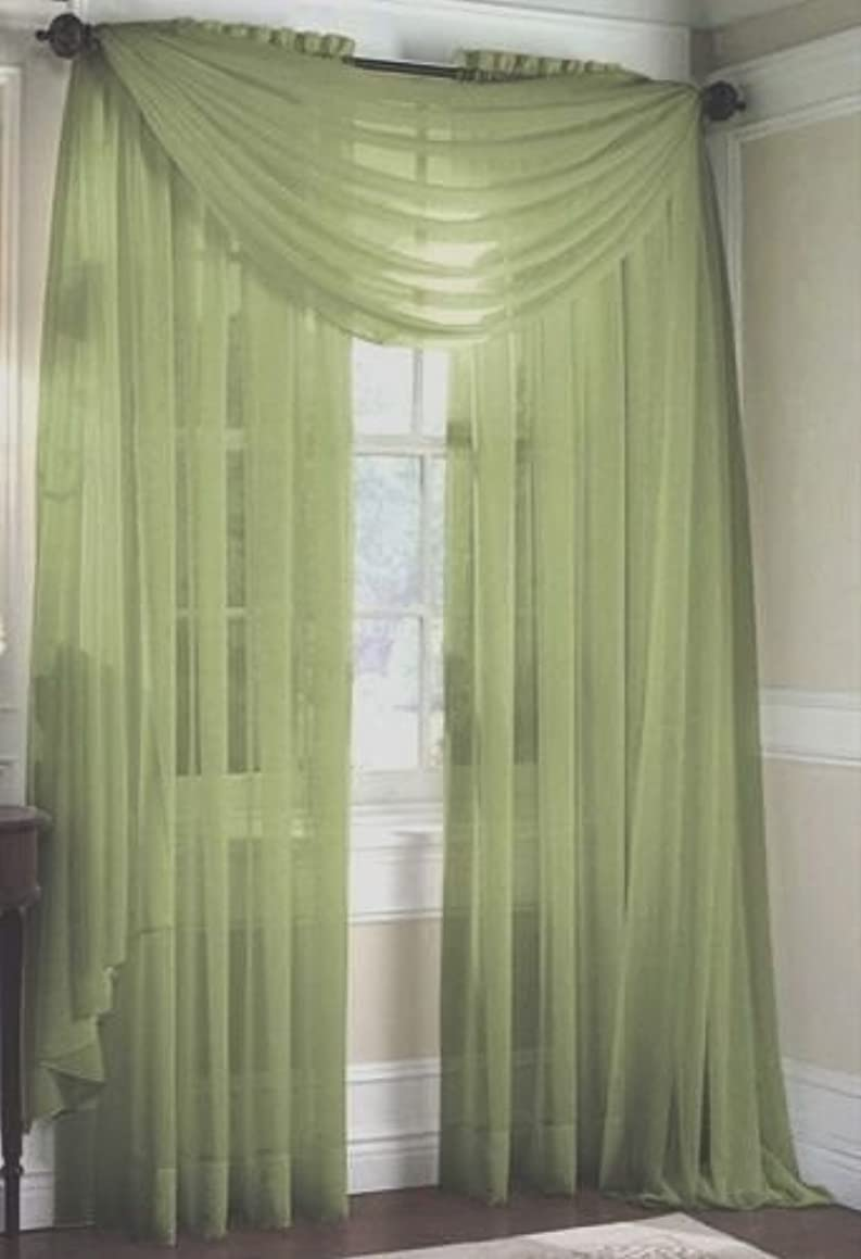 LuxuryDiscounts 2 Piece Solid Sage Green Elegant Sheer Curtains Fully Stitched Panels Window Treatment Drape 60
