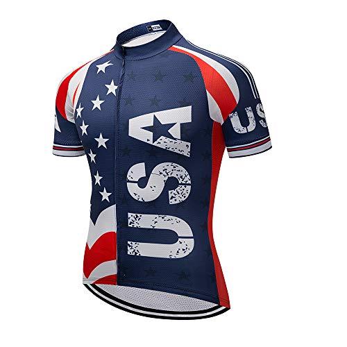 Men's Cycling Jersey Short Sleeve Full Zip Running Top - Bike Shirt USA Style L