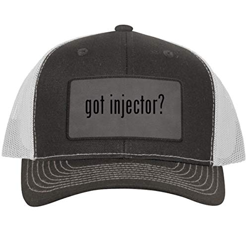got Injector? - Leather Grey Patch Engraved Trucker Hat, Grey-White, One Size