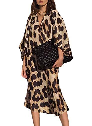 CORAFRITZ Vestido casual para mujer, cuello en V, estampado de leopardo, vestido de verano suelto, manga farolina, dobladillo dividido, vestido de playa