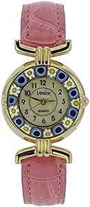 GlassOfVenice Reloj Millefiori de cristal de Murano con correa de piel, color rosa