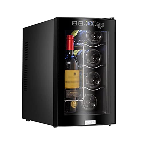SHENXINCI Mini Vitrina Pequeña Vinoteca de 12 Botellas, Display Digital y Panel de Control Táctil, Control Electrónico de La Temperatura, Refrigeración Termoeléctrica, Luz Interna LED, 65W,3 E