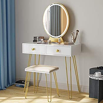 Vanity Table Set with 3 Color Lighted Mirror & Stool Makeup Vanity Dressing Table with Touch Screen Dimming Mirror & 2 Drawers Girls Makeup Desk with LED Mirror for Bedroom White and Gold