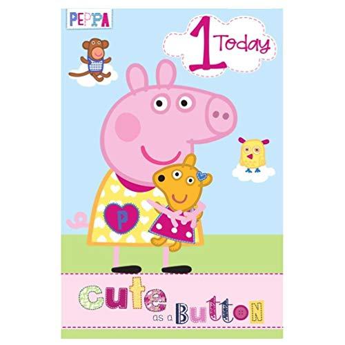 Peppa Varken Leeftijd 1 Verjaardagskaart