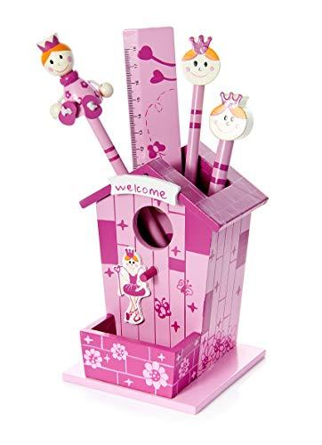 Kinder-roze prinses pennenhouder met houten potloden en liniaal set cadeau voor meisjes