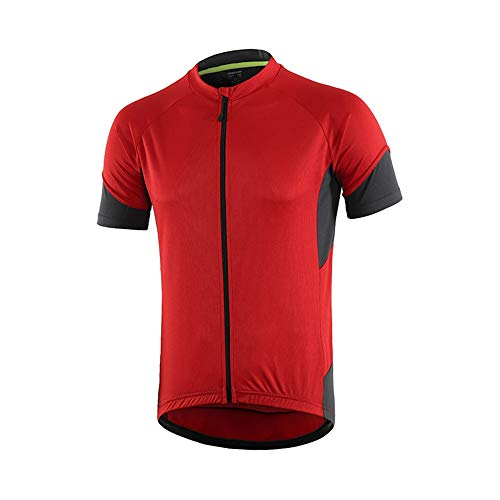 Cycling Jersey Mens Short Sleeve Bike Bicycle Shirts Biking Clothing Breathable Quick-Dry Shirt with Pockets(Red,Medium)