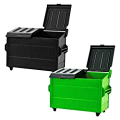 This look just like a real dumpster that has opening and closing black lids and real working wheels Perfect for all current and old wrestling action figures! Comes with one black and one green dumpster for action figures Each dumpster measures approx...