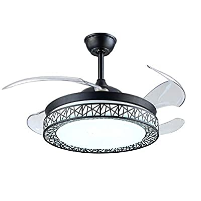 """RuiWing 42"""" Indoor Ceiling Fans with LED Light 4 Retractable Blades 3 Speeds 3 Color Changes Chandelier with Remote Control and Silent Motor Lighting Fixture for Living Room Bedroom"""