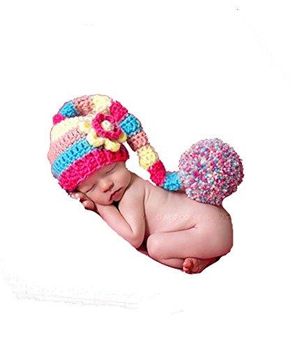 DAYAN 2016 Nouveau Caractère Coton Newborn Photographie Props Crochet Cap Noël Bébé Pixie Elf Beanies Noël 0-12Month