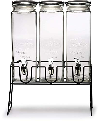 Circleware Triple XL Chalkboard Beverage Dispensers with Stand and Spigot, Fun Party New...
