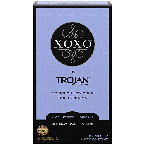XOXO Condoms by Trojan, Thin Softouch Lubricated Latex Condoms, 10ct