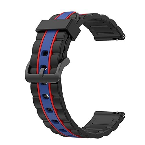 HGGFA Bandas de silicona onduladas para Huawei Watch GT 2 de 46 mm/Galaxy Watch 3 de 45 mm de repuesto de correa deportiva de repuesto (color de la correa: rojo y azul)