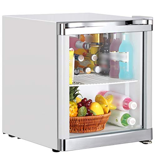 Compact Refrigerators Mini Fridge with Glass Door,Office Fridge,Freezer in Hotel Dormitory,Household Desktop Refrigerators,Portable Mini Ice Bar (Color : White, Size : 42L)