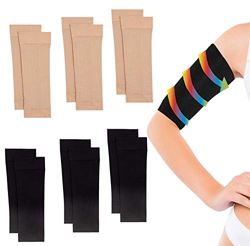6 Pair Arm Slimming Shaper Wrap, Arm Compression Sleeve Women Weight Loss Upper Arm Shapers for Women