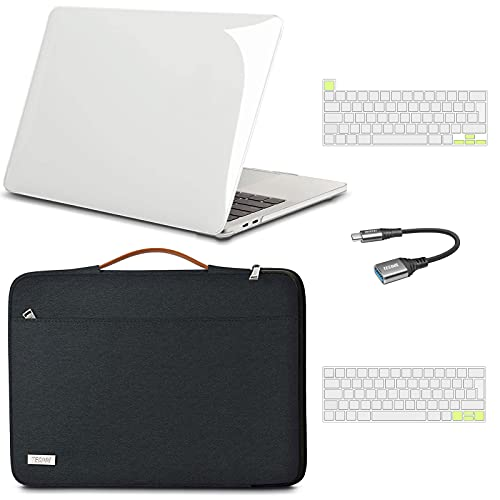 TECOOL MacBook Pro 13 inch Case 2016-2020 (Model: A2338 M1/A2289/A2251/A1706/A1989/A2159)- Plastic Hard Shell Cover & Sleeve Bag & Keyboard Cover & USB Adapter for MacBook Pro 13 - Clear & Black