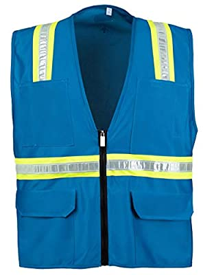 Safety Depot Safety Vest High Visibility Reflective Tape with 4 Lower Pockets, 2 Chest Pockets with Pen Dividers 8038-LB (Light Blue, XL)