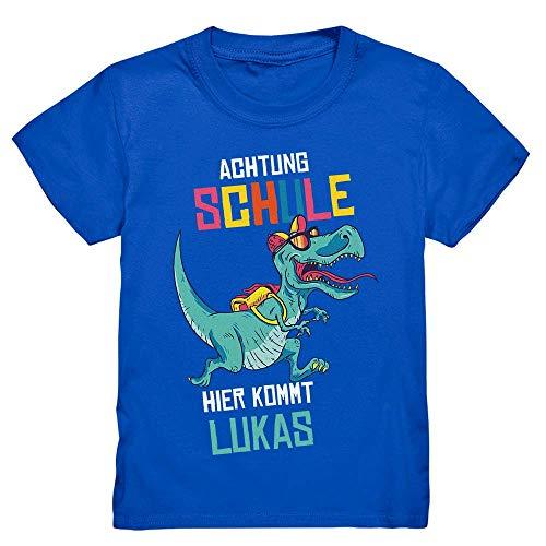 Kiddle-Design Dino Einschulung T-Shirt Schulanfang 2021 Personalisiert mit Name & Dinosaurier-Motiv | Geschenk Outfit Schulkind Einschulungsgeschenk