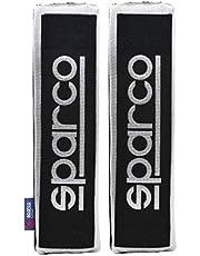 Sparco OPC12120001 Set de 2 Almohadillas Universales de Cinturón para Coche color negro con franja gris