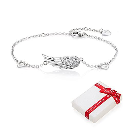 Pulsera de alas de ángel de plata 925 para mujer niña dijes circonita, pulsera de felicidad ajustable tierna corazón amor amuleto de la suerte pulseras regalos para comunión bautismo cumpleaños
