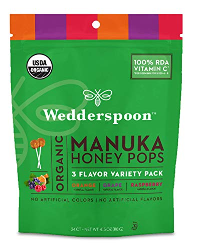 Wedderspoon Organic Manuka Honey Pops for Kids, Variety Pack, Unpasteurized, Genuine New Zealand Honey, 100% RDA Vitamin C, 24 Count