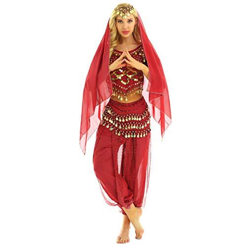 YiZYiF 4tlg. Damen Bauchtanz Kostüm Oberteil+Haremshose+Kopftuch+Hüfttuch indischen Tanzkleidung Belly Dance Karneval Fasching Performance Outfits Rot One Size