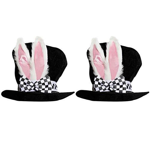 NUOBESTY 2 unidades de sombrero mgico para fiesta, sombrero de conejo blanco