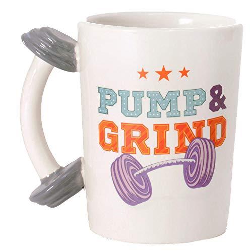 Fitness Kaffeebecher mit Hantel als Griff - Fitness Studio Kaffeetasse