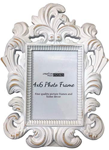 Creative Picture Frames 3 5/8' x 5 1/4' Trapani Decorative White Picture Frame for Table Top with Easel
