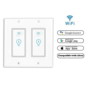 Smart Light Switch, Wireless Standard Smart Socket Outlet,WiFi Switch In-wall,Remote Control Your Fixtures From Anywhere,Timing Function,Compatible with Amazon Alexa (KS602-2Gang)(Neutral wire needed)