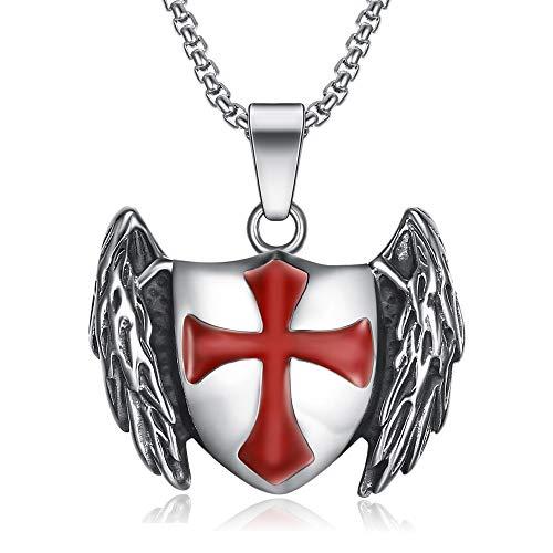 BOBIJOO JEWELRY - Colgante Templario Caballero de Escudo Alado de la Cruz Roja 316L de Acero de Cadena de Plata