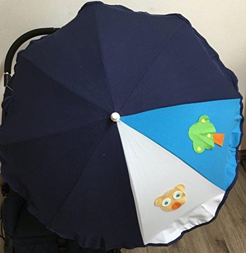 Sombrilla para silla de paseo + flexo universal. Parasol osito celeste marino