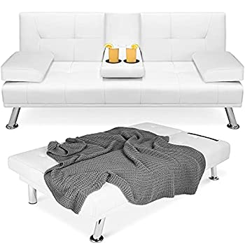 Best Choice Products Faux Leather Upholstered Modern Convertible Folding Futon Sofa Bed for Compact Living Space Apartment Dorm Bonus Room w/Removable Armrests Metal Legs 2 Cupholders - White