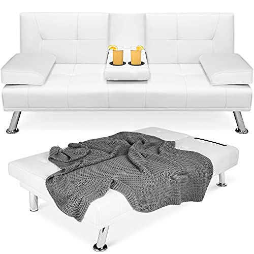 Best Choice Products Faux Leather Upholstered Modern Convertible Folding Futon Sofa Bed for Compact Living Space, Apartment, Dorm, Bonus Room w/Removable Armrests, Metal Legs, 2 Cupholders - White