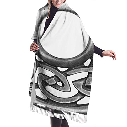 Women's Fall Classic Winter Scarf,Royal Style Circular Celtic Pattern Graphic Print Metal Brooch Design Scottish Shield,Scarf Warm Soft Chunky Large Blanket Wrap Shawl Scarves Thanksgiving Christmas