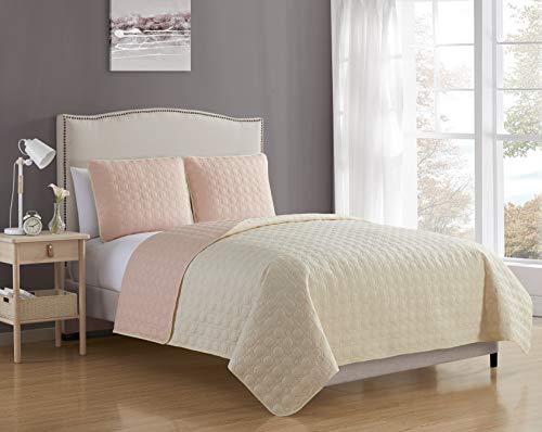 Blissful Living - Juego de edredón reversible de lujo con fundas de almohada, ligero y suave para comodidad durante todo el año, color crema
