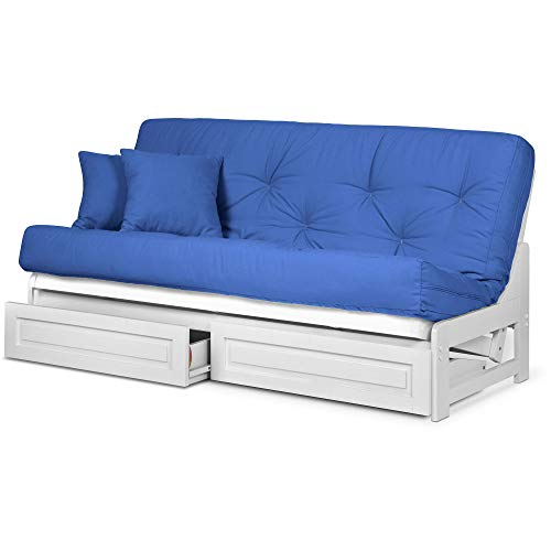 Arden White Futon Frame with Storage Drawers Full or Queen Size - Solid Hardwood Armless Sofa Bed Frame Construction, Space Saving Design Ideal for RV, Small Rooms, and Dorms