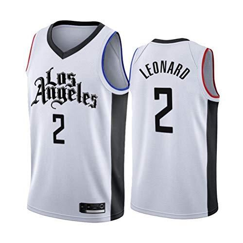 XH-CHEN Herren-Basketball-Jersey NBA Clippers # 2 Kawhi Leonard Stadt Ausgabe Gestickte Mesh-Basketball-Trainings-Kleidung, Unisex Ärmel Sport-T-Shirt-Weste,M(175cm/65~75kg)