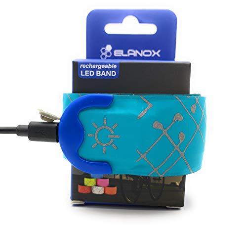 ELANOX LED Armband Leuchtband für Sport Outdoor Reflektorband Sicherheitslicht Slap Band für Fahrradfahren Joggen Kinderwagen (wiederaufladbar 1 St. blau)