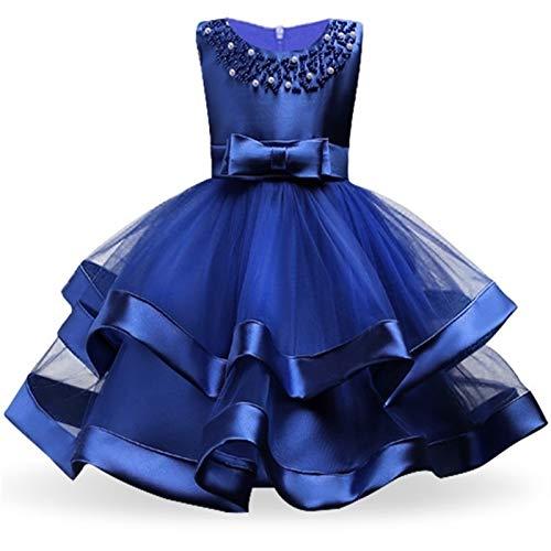 Robe confortable et exquise Enfants Elegant Pearl Cake Gâteau Princess Robe Filles Robes for mariage Soirée Partie de la soirée Broderie Fleur Robe Girl Girl Vêtements ( Color : Blue , Kid Size : 9 )