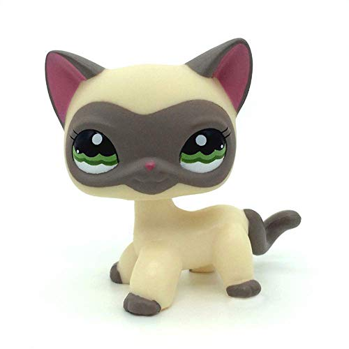 HYMY 1PC Yellow Siamese Kitty Cat Animal Figure Gift LPSL Cuetrade Rare Mini Pet Toys #1116