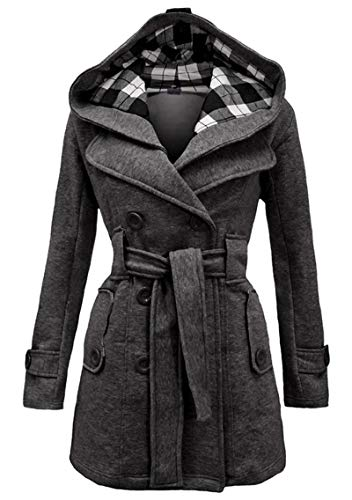 YMING Women's Hooded Pea Coat Trench Winter Coat with Belt Wool Trench Coat Winter Double-Breasted Jacket Dark Grey S
