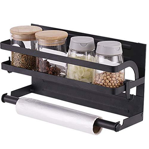 PIGPIGFLY Mensola laterale per frigorifero, portaspezie magnetica per frigorifero con gancio, supporto per asciugamani di carta, portaspezie da cucina, per frigoriferi e superfici in metallo