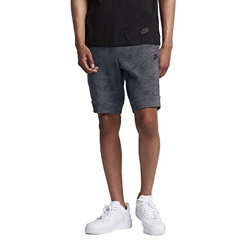 Nike Men's Tech Fleece Sport Casual Graphic Shorts (Black/Grey,XX-Large)