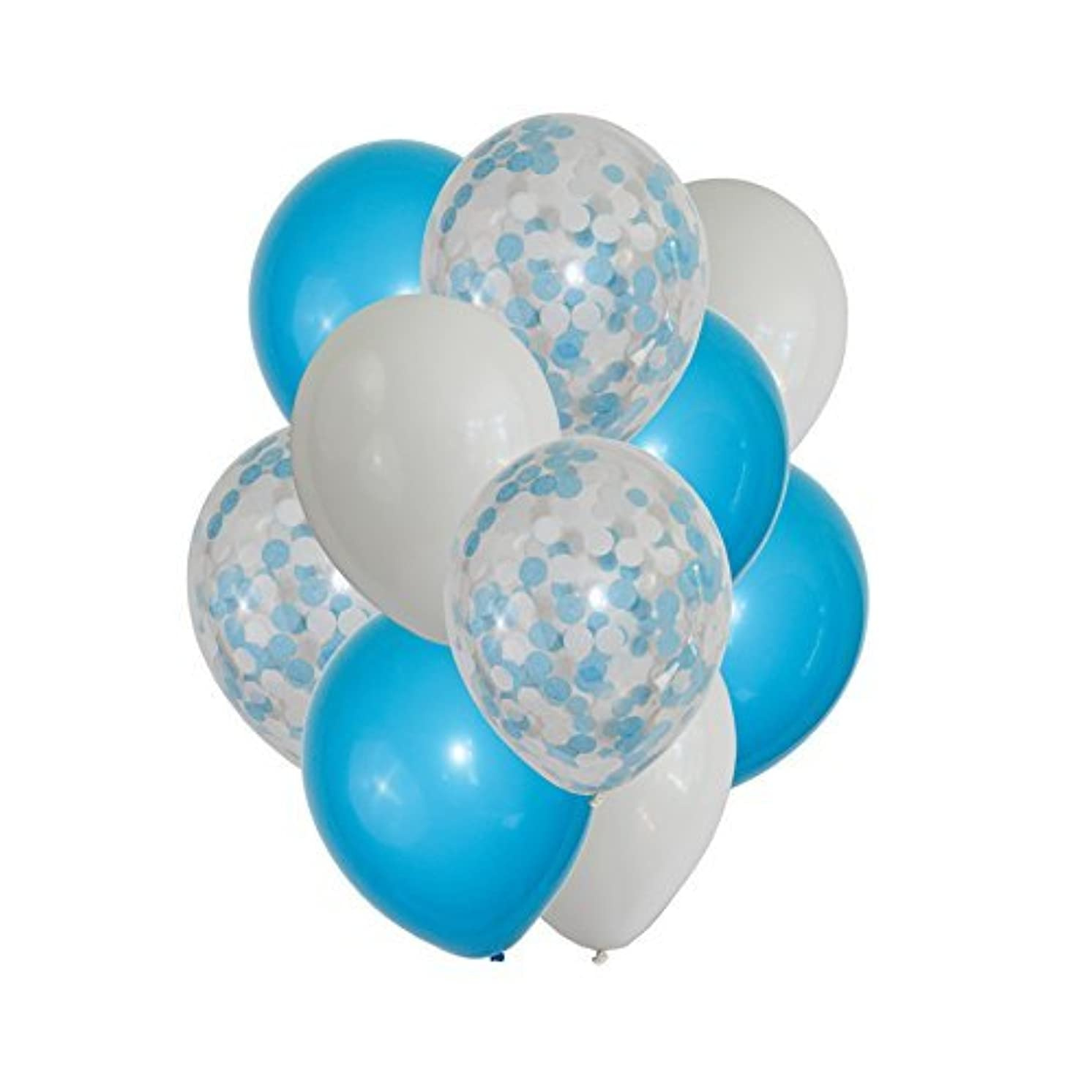 FindFun 12'' Blue Confetti Balloons Set for Boy Baby Shower Party Decoration (Pack Of 12) (Blue)