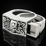 CHCO Anillo de Calavera de Moda para Hombres Ataúd Secreto Compartimento Hip Hop Joyería Unisex Hombres Anillo de Esqueleto Vikingo Punky 13 Oro