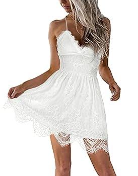 AOOKSMERY Women Summer V-Neck Spaghetti Straps Lace Backless Mini Party Club Beach Dresses  White Small